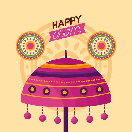 happy onam festival lamp flowers decoration vector illustration 向量圖像