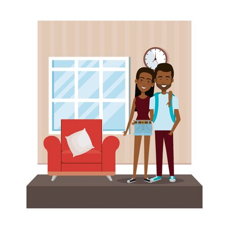 couple in the livingroom characters vector illustration design