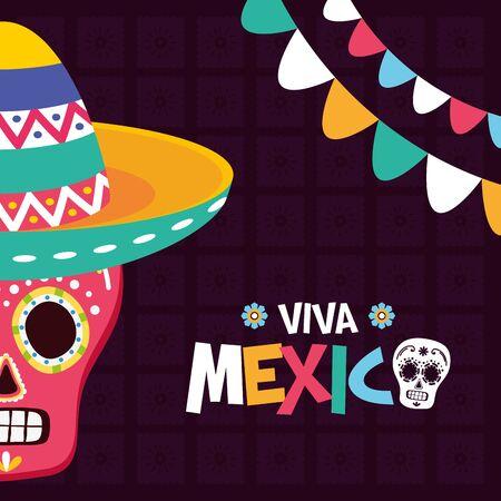 sugar skull hat garland celebration viva mexico vector illustration