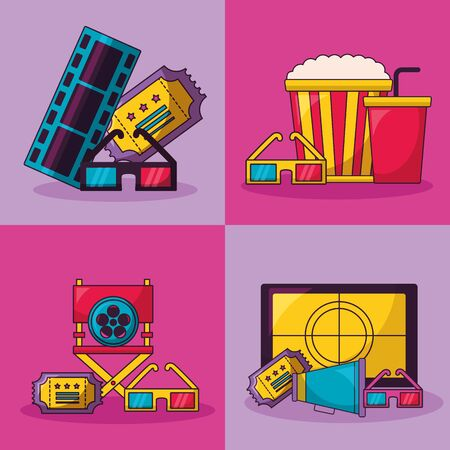 cinema movie ticket chair screen glasses speaker collection vector illustration Illustration