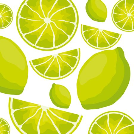 sliced lemon tropical fruits background vector illustration