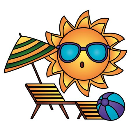 summer time holiday sun character deck chair and ball vector illustration