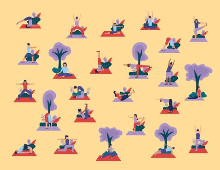 yoga outdoor women doing exercises flexing body nature vector illustration  イラスト・ベクター素材