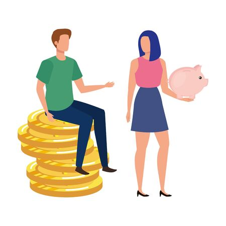 young couple with coins and piggy savings vector illustration design