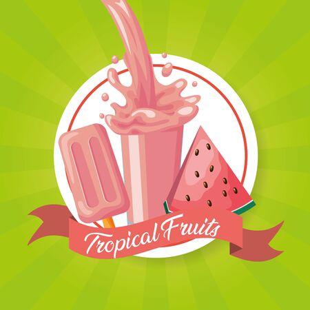 watermelon juice ice cream splash tropical fruits vector illustration