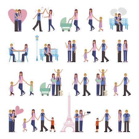 group of family members characters vector illustration design Standard-Bild - 130500931