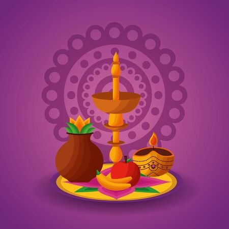 candles fruits onam festival celebration vector illustration 일러스트