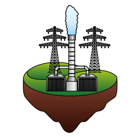 eco friendly geothermal and tower energy vector illustration