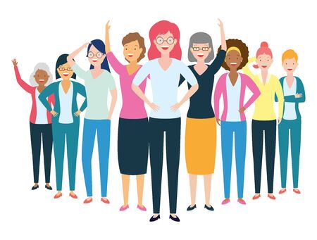 diversity women characters people group on white background vector illustration Stockfoto - 130500970