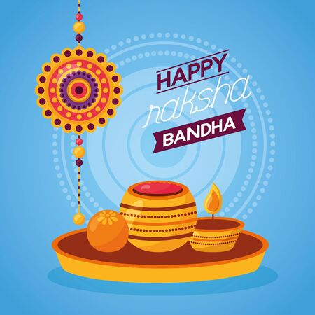 happy raksha bandhan rakhi candles vector illustration 일러스트