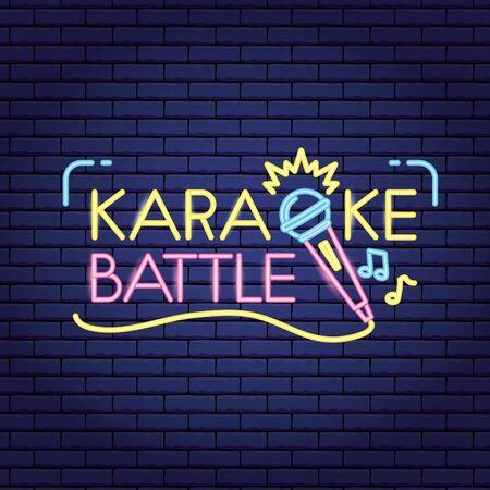 microphone sound karaoke  neon style vector illustration Stock Illustratie