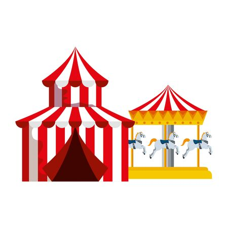 circus tent carnival with carousel vector illustration design