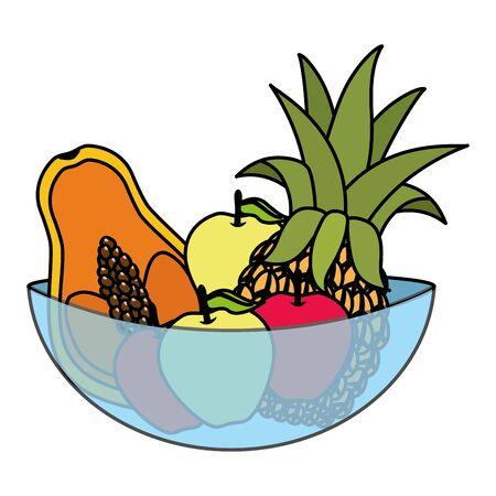 bowl crystal with apple papaya pineapple pear tropical fruits vector illustration