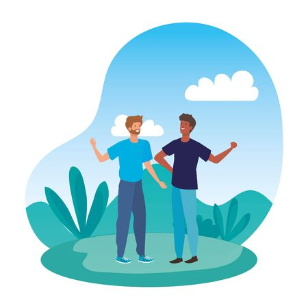 interracial young men friends in the camp vector illustration design