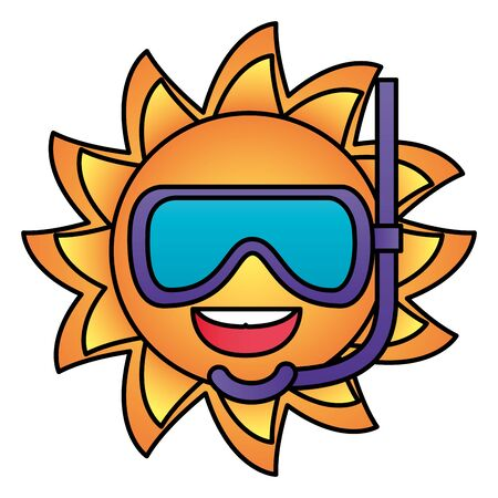 summer time holiday sun character with snorkel mask vector illustration