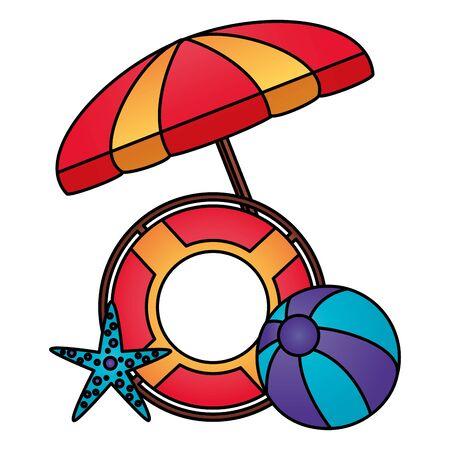 summer time holiday umbrella beachball lifebuoy starfish vector illustration