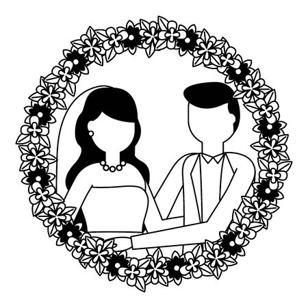 bride and groom wreath flowers wedding day vector illustration Foto de archivo - 130501063