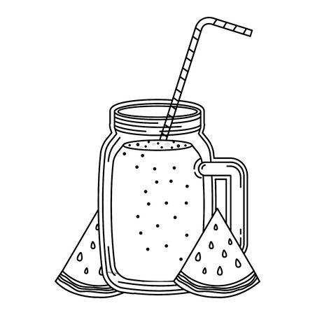 juice watermelon fruit jar with straw vector illustration design Ilustrace