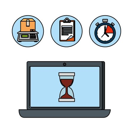 laptop computer with delivery service app vector illustration design