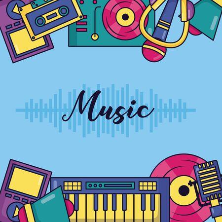 synthesizer turntable cassette headphones speaker poster music vector illustration
