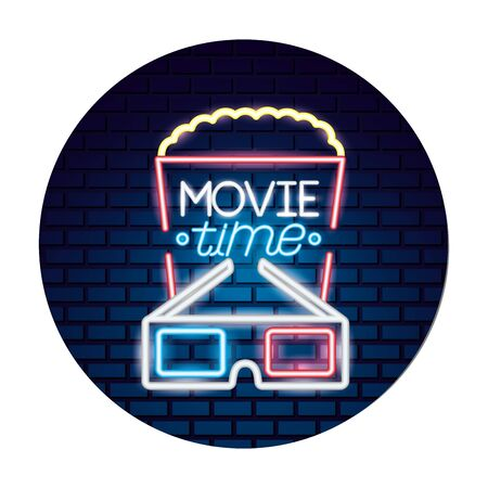 popcorn 3d glasses movie time neon vector illustration vector illustration