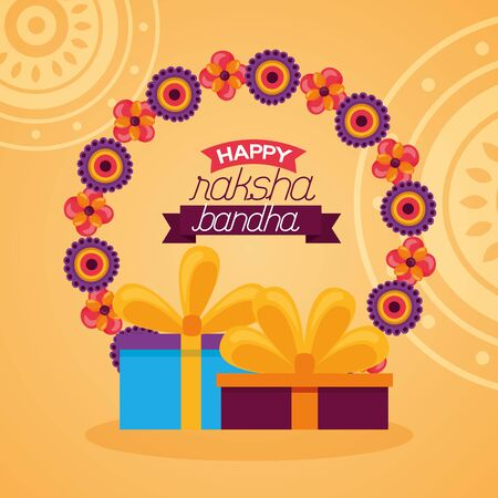 happy raksha bandhan gifts boxes celebration vector illustration