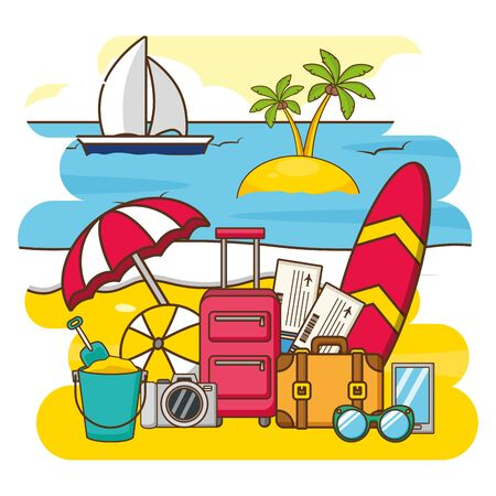 summer time holiday vacations suitcase surfboard umbrella sunglasses camera ball tickets boat vector illustration Illustration