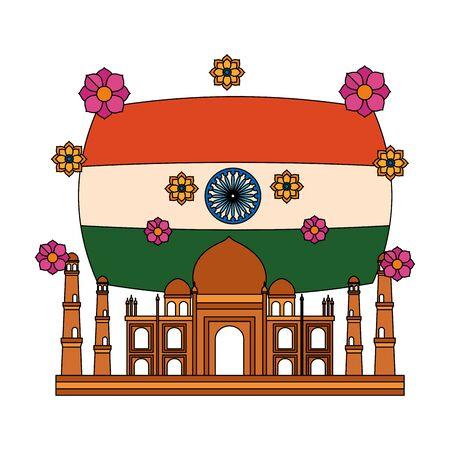 taj mahal indian mosque with flag vector illustration design  イラスト・ベクター素材