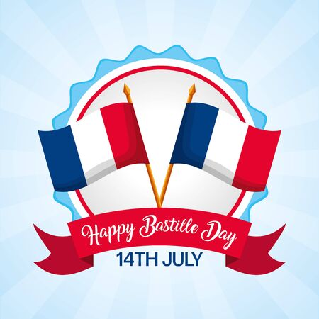 crossed flags ribbon badge happy bastille day vector illustration