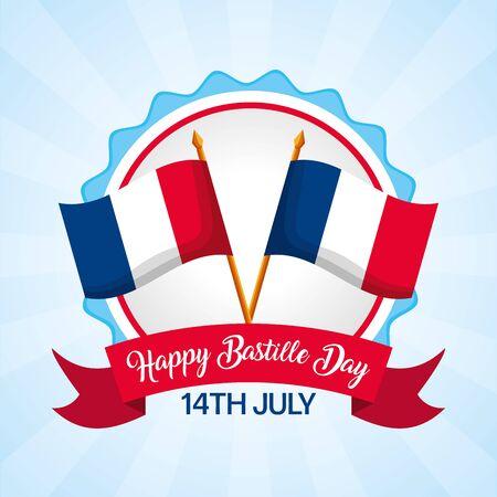 crossed flags ribbon badge happy bastille day vector illustration