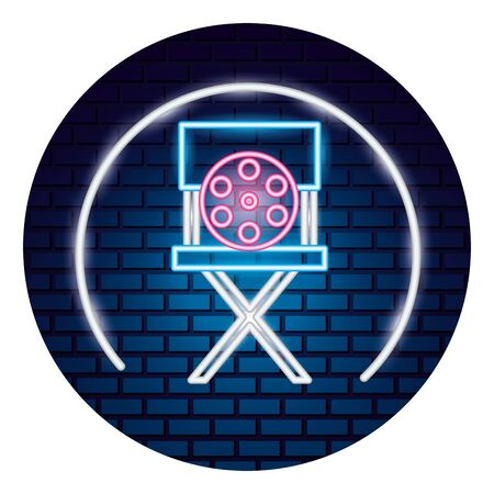 director chair reel movie time neon vector illustration vector illustration Illustration