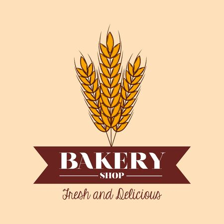 Wheat design, Bakery food shop traditional quality style and breakfast theme Vector illustration