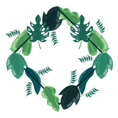 wreath leaves foliage natural white background decoration vector illustration Stock Illustratie