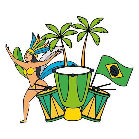 Tambor de bandera bailarina celebración de carnaval de Brasil ilustración vectorial