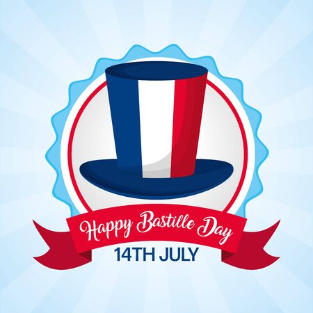 top hat flag france badge happy bastille day vector illustration