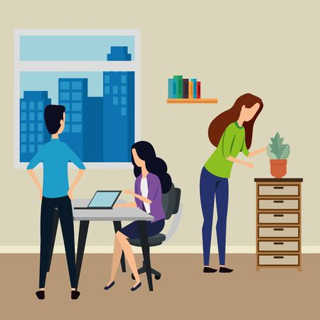 elegant business people working in the office vector illustration design