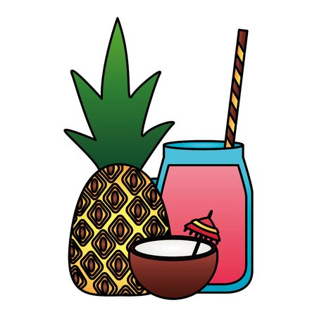 summer time holiday coconut cocktail pineapple  vector illustration