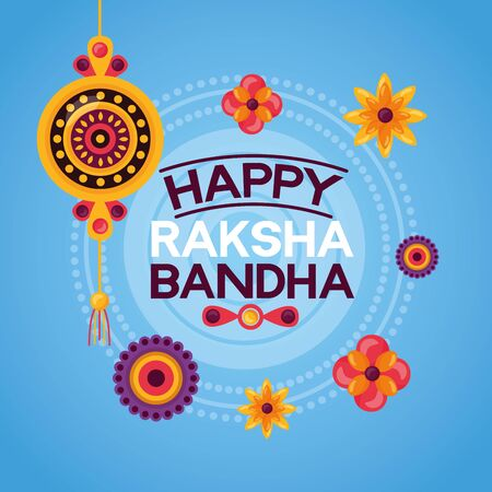 happy raksha bandhan rakhi flowers decoration vector illustration