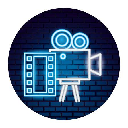 projector camera strip film movie time neon vector illustration vector illustration Stock Vector - 130519983