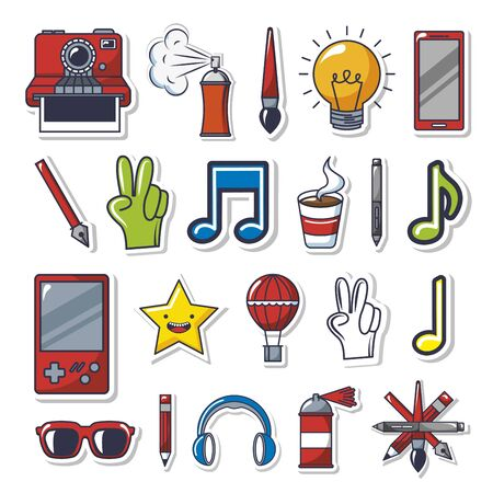 bundle of creative photographic ideas set icons vector illustration design