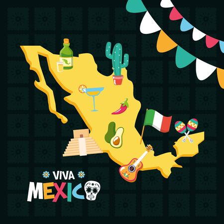 greeting card traditional party celebration viva mexico vector illustration