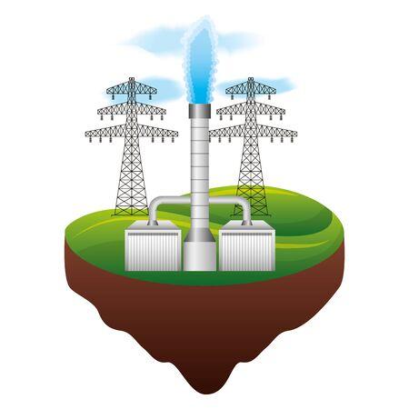 Illustration vectorielle de l'énergie géothermique et de la tour écologique Vecteurs