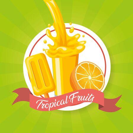 juice ice cream orange splash tropical fruits vector illustration
