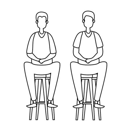 elegant businessmen workers seated in benchs vector illustration design