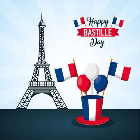 eiffel tower hat balloons flags france happy bastille day vector illustration