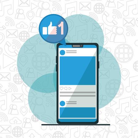 Smartphone como aplicación red social diseño de medios ilustración vectorial