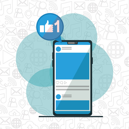 smartphone like app social network media design vector illustration Illustration