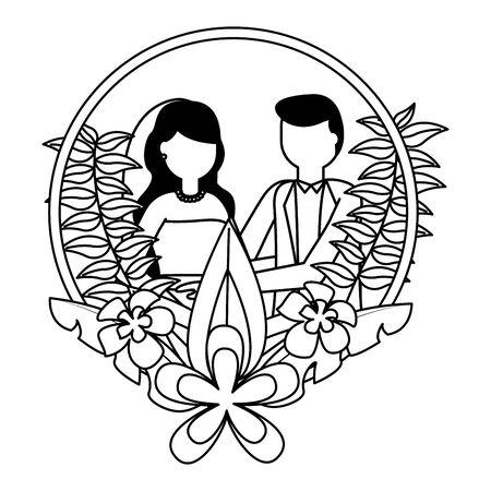 bride and groom wreath flowers wedding day vector illustration Foto de archivo - 130529745