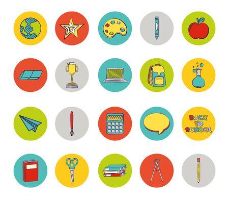 Conjunto de coloridos iconos de regreso a la escuela, diseño de ilustraciones vectoriales