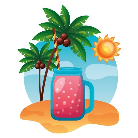 summer time holiday juice beach palm trees vector illustration